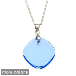 La Preciosa Sterling Silver Crystal Square Necklace Made with SWAROVSKI Elements