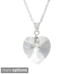 La Preciosa Sterling Silver Crystal Heart Necklace Made with SWAROVSKI Elements