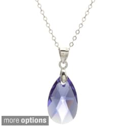 La Preciosa Sterling Silver Crystal Teardrop Necklace Made with SWAROVSKI Elements