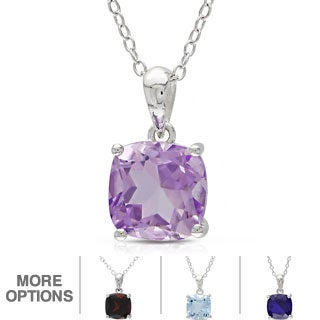 Miadora Sterling Silver Cushion-cut Birthstone Pendant Necklace (18 Inches)