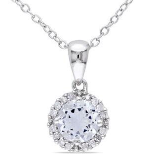 Miadora Sterling Silver Aquamarine and 1/10ct TDW Diamond Necklace (H-I, I2-I3)