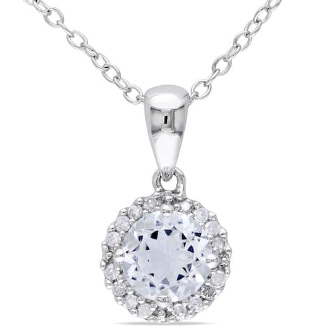 Miadora Sterling Silver Aquamarine and 1/10ct TDW Diamond Necklace (H-I, I2-I3)