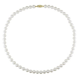 Miadora 14k Yellow Gold White Cultured Akoya Pearl Necklace (6.5-7 mm)