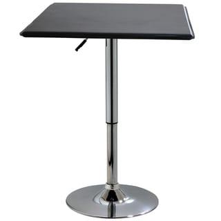 AmeriHome Modern Matte Black Square Adjustable Table