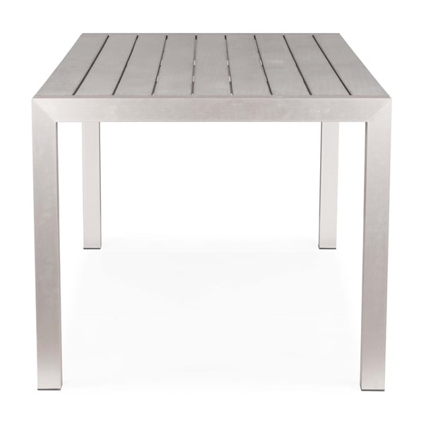 metropolitan brushed aluminum outdoor dining table expandable and chairs