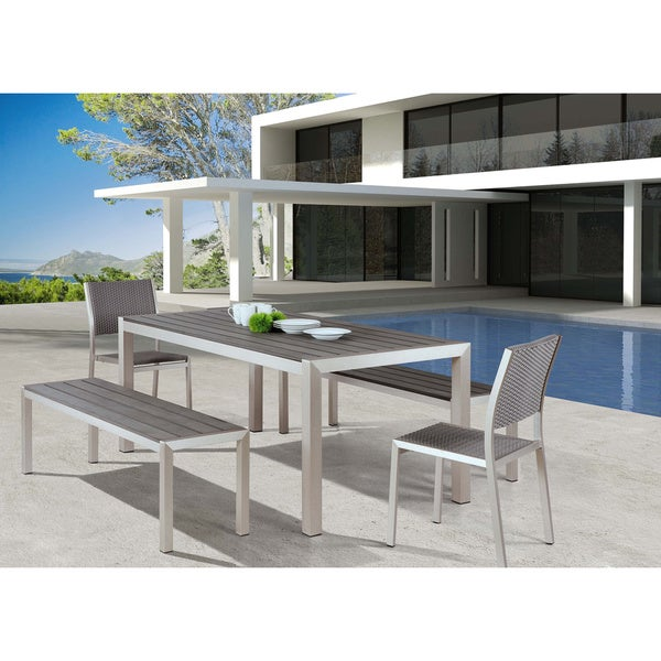Beau Metropolitan Brushed Aluminum Outdoor Dining Table