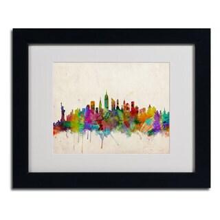 Michael Tompsett 'New York Skyline' Framed Mattted Canvas Art