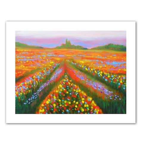 Susi Franco 'Floral Landscape' Unwrapped Canvas