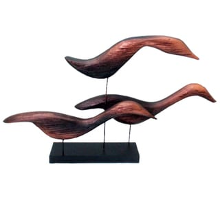 Handmade Copper Finished 3-duck Family Sculpture (Indonesia)