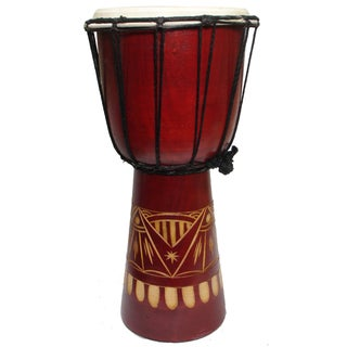Hand-carved Abstract Natural Djembe Drum (Indonesia)