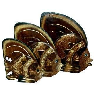 Set of 3 Handmade Textured Fish Statues (Indonesia)