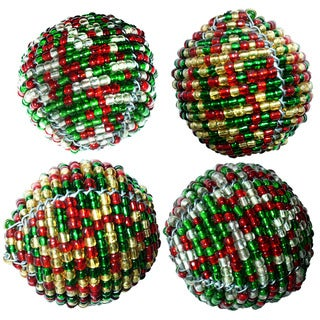 "Handmade Set of 4 Red and Green Beaded Decorative Balls (Kenya) - 3"" x 3"""