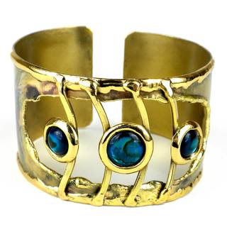 Handmade Ripple Effect Paua Shell Brass Cuff (South Africa)