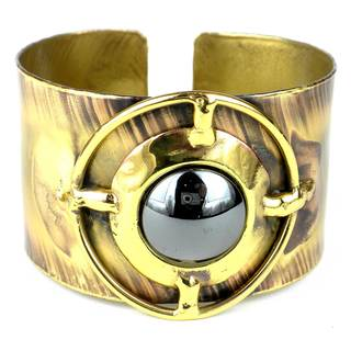 Handmade Shine On Hematite Brass Cuff (South Africa)