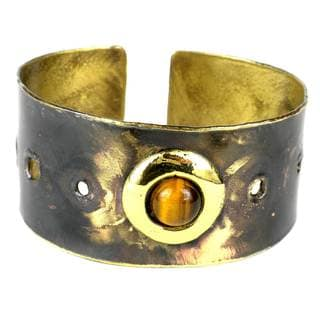 Handmade Golden Tiger Eye Domino Brass Cuff (South Africa)
