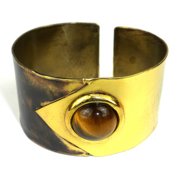 Handmade Tiger Eye To the Point Brass Cuff (South Africa)