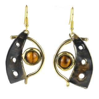 Handcrafted Golden Tiger Eye Domino Earrings (South Africa)