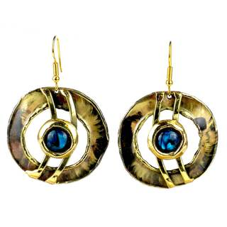 Handmade Paua Shell Ripple Effect Brass Earrings (South Africa)