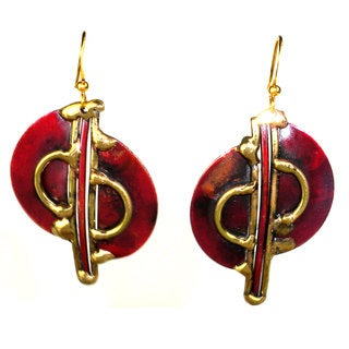 Handmade Cello Brass and Copper Earrings (South Africa)