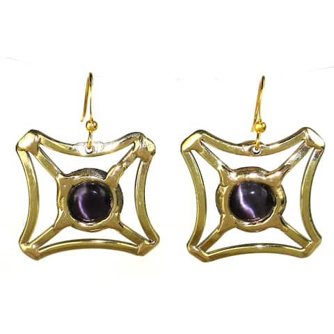 Handmade Purple Tiger Eye Square Earrings (South Africa)