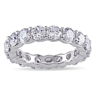 Miadora Signature Collection 18k White Gold 4ct TDW Round Diamond Eternity Band