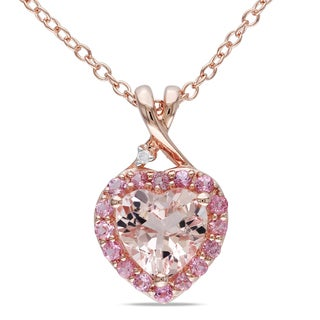 Miadora Rose-plated Silver Morganite Tourmaline and Diamond Necklace