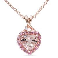Miadora Rose-plated Silver Morganite Tourmaline and Diamond Necklace