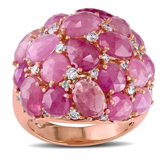 Miadora Signature Collection 18k Rose Gold Pink Sapphire 3/5ct TDW Diamond Ring (H-I, I1-I2)
