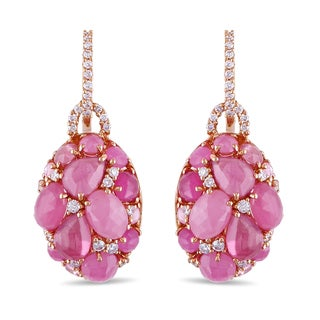 Miadora Signature Collection 18k Rose Gold Pink Sapphire 1/2ct TDW Diamond Earrings (G-H, I1-I2)