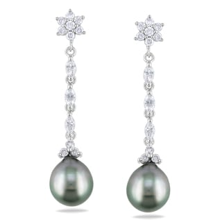 Miadora Signature Collection 1ct TDW Diamond Tahitian Pearl Earrings (G-H, I1-I2)