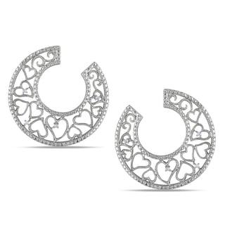 Miadora Sterling Silver Diamond Heart Design Hoop Earrings