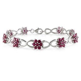 Miadora Sterling Silver Created Ruby Link Bracelet