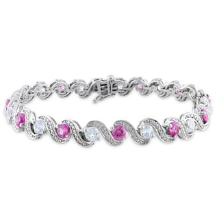 Miadora Sterling Silver Pink and White Sapphire Bracelet