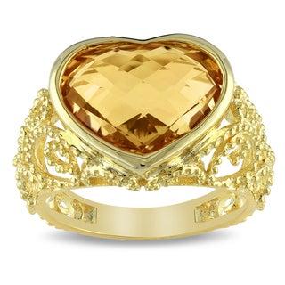 Miadora Yellow Plated Silver Citrine Heart Ring