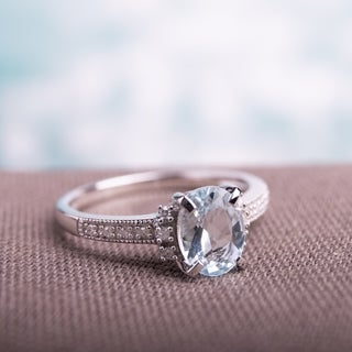 Link to Miadora Sterling Silver Aquamarine and Diamond Ring Similar Items in Rings