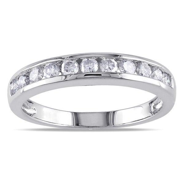 Miadora 14k White Gold 1/2ct TDW Diamond Wedding Band (L-M, I2-I3)