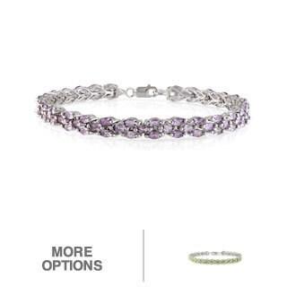 Miadora Sterling Silver Amethyst or Peridot Link Bracelet