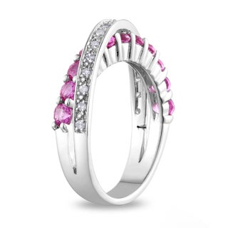 Miadora Sterling Silver Sapphire 1/10ct TDW Diamond Ring (H-I, I2-I3)
