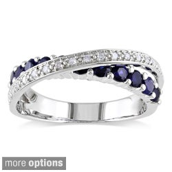 Miadora Sterling Silver Sapphire 1/10ct TDW Diamond Ring (H-I, I2-I3)