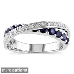 Miadora Sterling Silver Blue Sapphire and 1/10ct TDW Diamond Crossover Ring