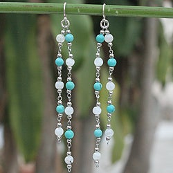 Handmade Stainless Steel 'Blue Rain' Gemstone Earrings (Thailand)