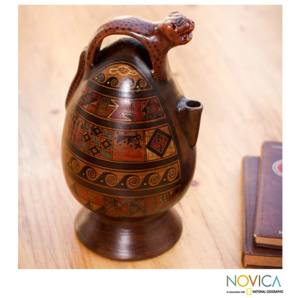 Handcrafted Ceramic 'Jaguar Decanter' Aged Cuzco Vessel (Peru)