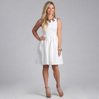 Amelia Women's White Daisy Jacquard Dress