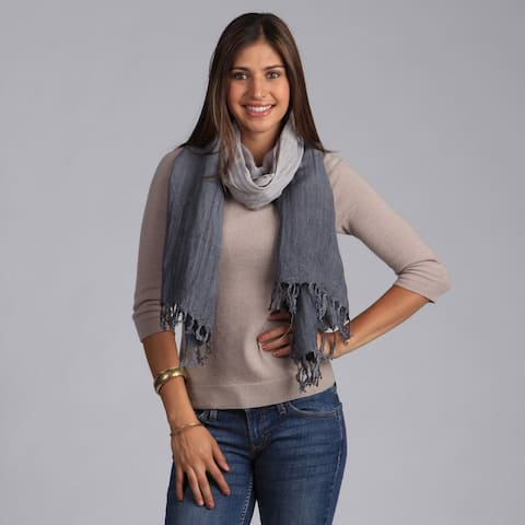 Peach Couture Chic Silver and Gray Faded Ombre Cotton Scarf