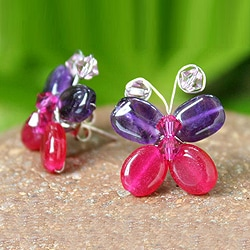Sterling Silver 'Exotic Butterfly' Amethyst Earrings (Thailand)