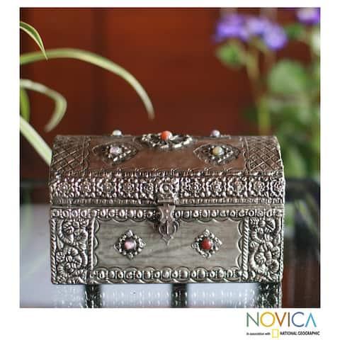 Handmade Mango Wood and Nickel-plated Brass 'Royal Coffer' Jewelry Box (India)