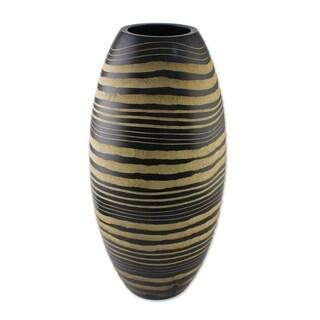 Handmade Mango Wood 'Golden Zebra' Vase (Thailand)