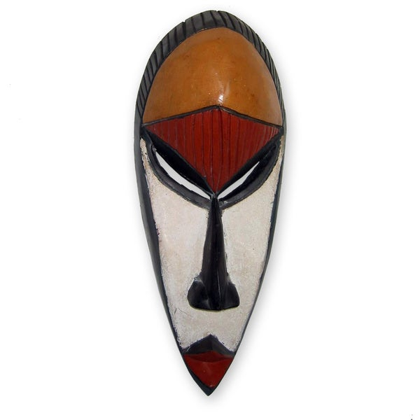 Handcrafted Sese Wood 'Wisdom Is the Key' African Mask (Ghana)