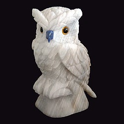 Handcrafted Onyx and Sodalite 'Midnight Owl' Sculpture(Peru)