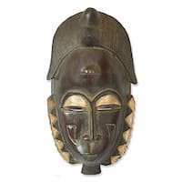 Handcrafted Sese Wood 'Male Baule Fertility Mask' African Mask (Ghana)